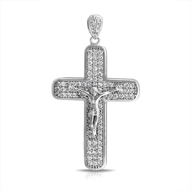 20 best silver crucifix pendant images on pinterest jewelry 925 sterling silver pave cz jesus crucifix mens cross pendant aloadofball Image collections