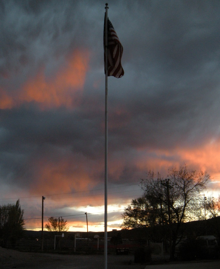 Old Glory At Sunset In Grants, New Mexico