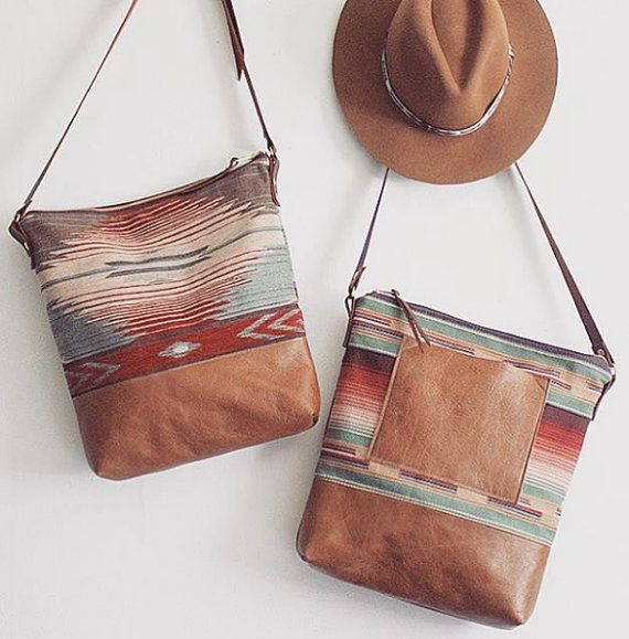 Tribal Print Hobo. Brown Leather Bag. Southwestern by gracedesign