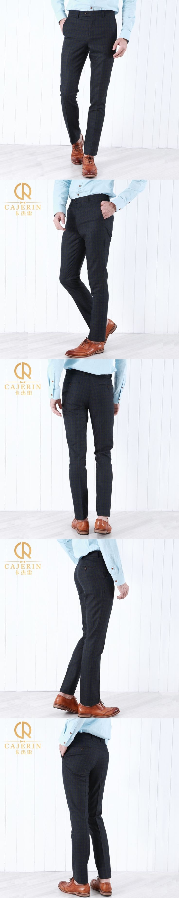 Pre Sale 100% Wool Men Dress Pants Formal Warm Winter Casual Wedding Groom Prom Party Suits Trousers Fashion Blue Plaid