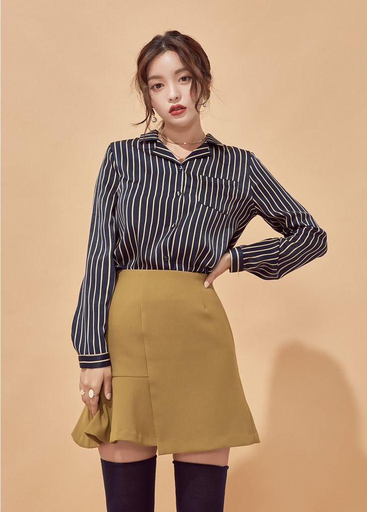 Notch Collar Stripe Shirt CHLO.D.MANON   #chic #pinstripe #koreanfashion #kstyle #kfashion #blouse #falltrend #seoul