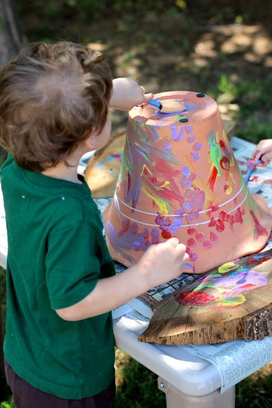 Painting flower pots is a great outdoor activity that encourages creativity! (great for any age!)