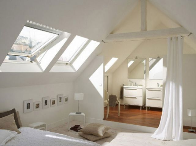 Suite parentale sous les combles- bedroom attic ensuite white