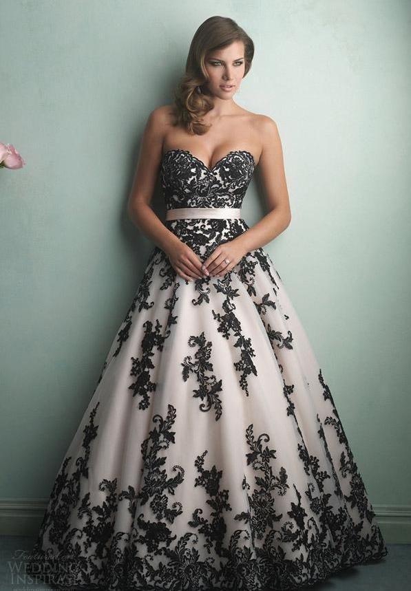 bd47c684d8e9b White And Black Vintage Wedding Dress in 2019 | Wedding Ideas ...