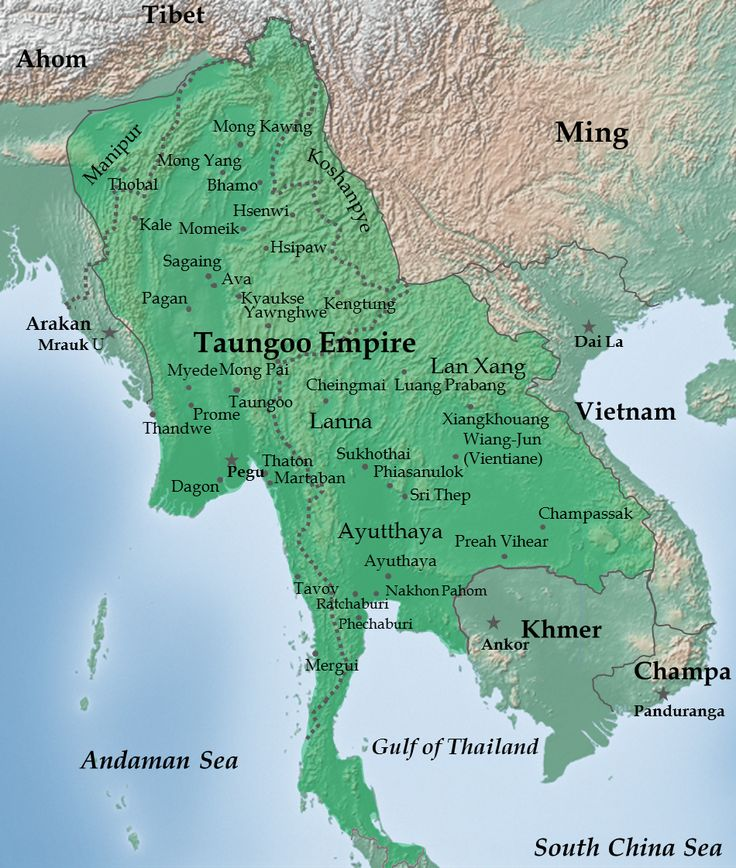 Map of the Taungoo Empire