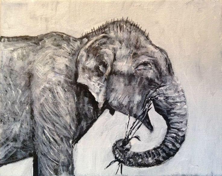 """Raju the Elephant "". 8""/10"" Acrylic On canvas.  Original Art  Jack Larson #Abstract"