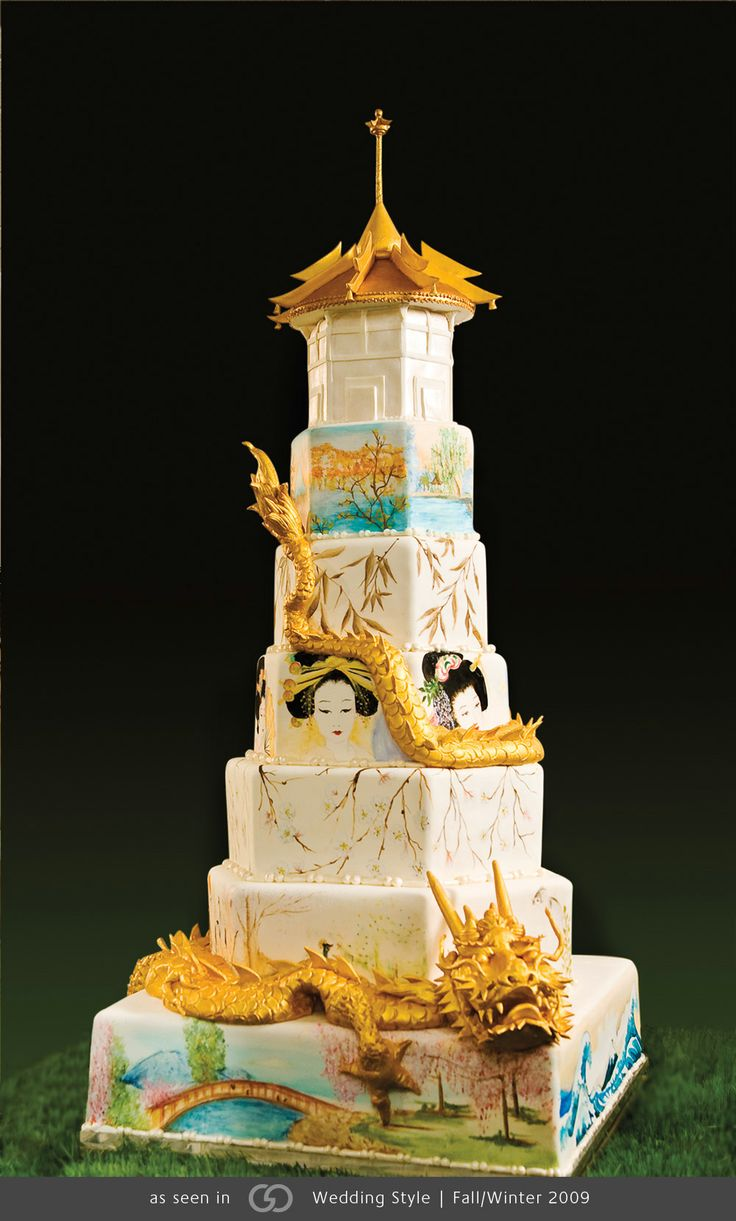 Japanese Inspired Cake With Hand Painted Scenes And An 18k