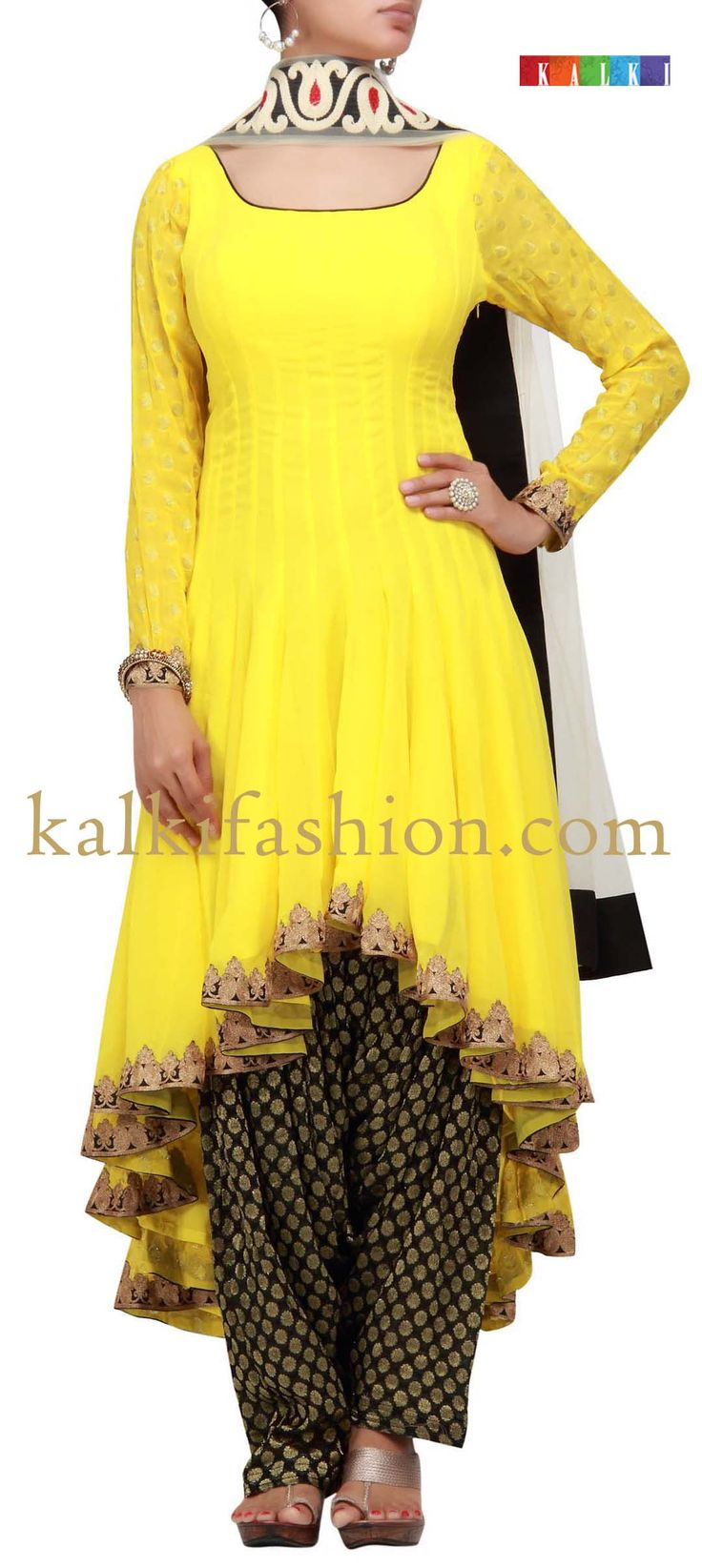Buy it now http://www.kalkifashion.com/yellow-patiala-suit-with-tail-cut.html Yellow patiala suit with tail cut