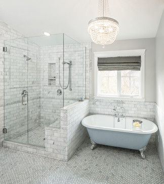 enlarged shower with bench seat; free standing tub and window; vaulted ceiling (end tile at the low point and take it across)