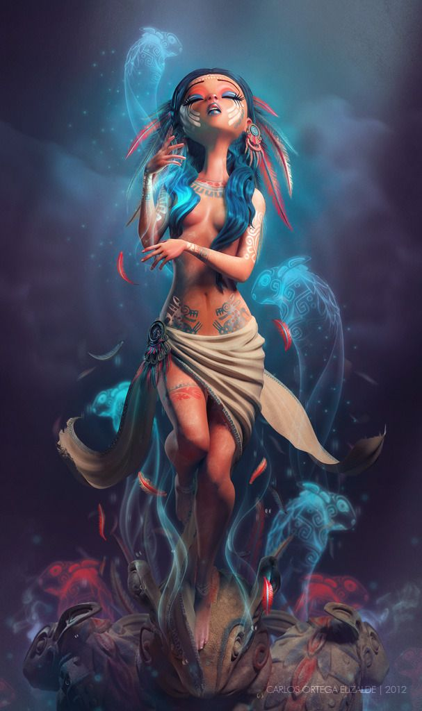 The Weeping Woman Picture (3d, fantasy, girl, woman, feather, mexico, shaman)