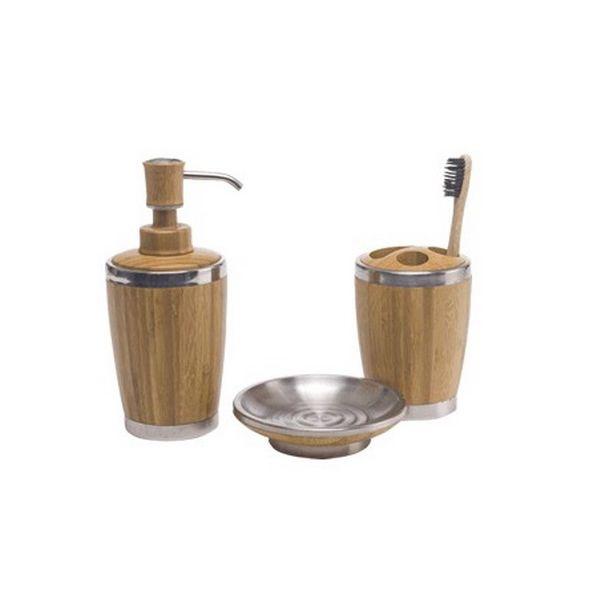 COD.BU016 Set de Baño 3 piezas de Bambú.  Soporte de Jabón -  Soporte de Cepillos -  Soporte de Jabón Barra, (no incluye cepillo de dientes que aparece en la imagen).
