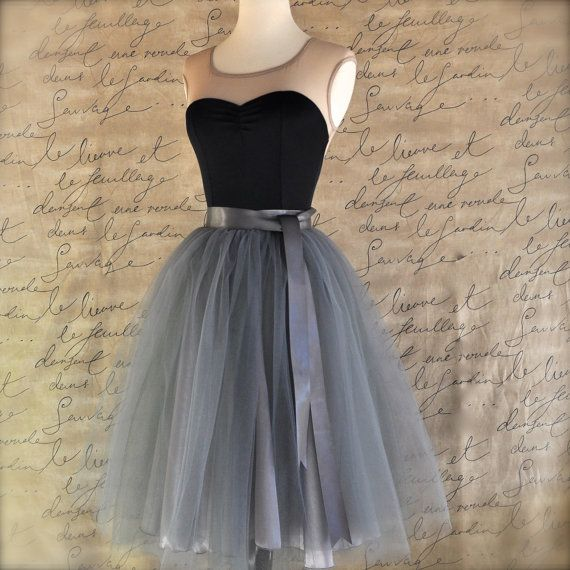 Charcoal grey tulle tutu skirt for womenlined by TutusChicBoutique