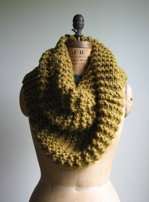 This extra large chunky knit cowl in a yummy split pea color is the perfect addition to any wardrobe. You will be warm and snuggly in this lush neck
