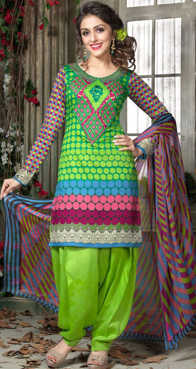 #Green Cotton #Salwar #Kameez with Dupatta