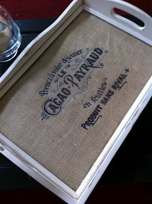 """Idea to spruce up an old or plain tray with pretty vintage image.  Please see my """" Printing Ideas""""  board for some vintage labels and pictures."""