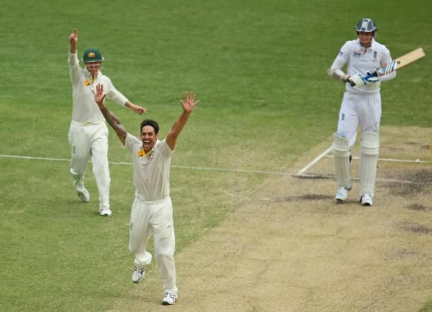 Mitchell Johnson of Australia appeals successfully for the wicket of Stuart Broad of England during day four of the First Ashes Test match between Australia and England at The Gabba on November 24, 2013 in Brisbane, Australia.
