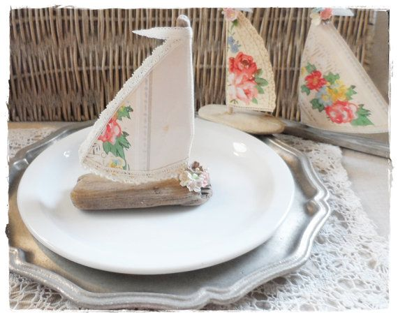 Shabby Beach Cottage Driftwood Decor Sailboat  by LoveEmbellished