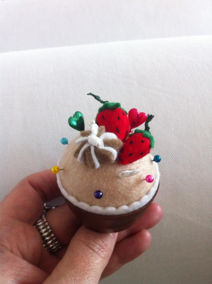 Cup cake speldenkussen/ring
