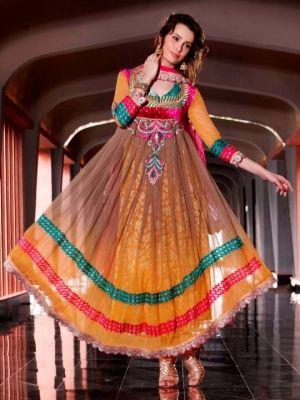 Aarya Yellow Net Anarkali Semi-Stitched Dress Material