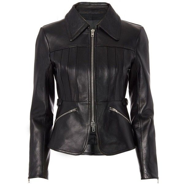 Alexander Wang Women's Combo Collar Peplum Leather Jacket ($1,895) ❤ liked on Polyvore featuring outerwear, jackets, black, peplum leather jacket, leather zip jacket, genuine leather jackets, zipper leather jacket and real leather jackets