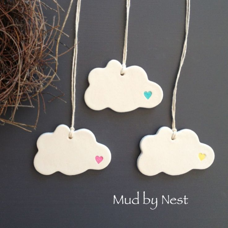 mud clouds - clay tags {set of 3}