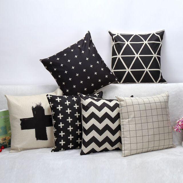Estilo preto e branco simples malha franja almofada de linho OEM decorativa sofá de casa de carro cadeira lance personalizado
