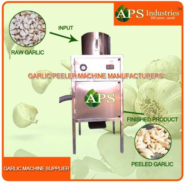 Completely automatic dry garlic cloves operation.Works on compressed air, Energy saving unit High production efficient.Automatic temperature control and in feed device.Can peel different size of garlic, clove and membrane separated.Cloves are not damaged and will have long preservation for garlic.Production output according to various parameters like breed, season and nature of garlic. Capacity:50 kg per hour/100 kg per hour/150 kg per hour More capacity is available