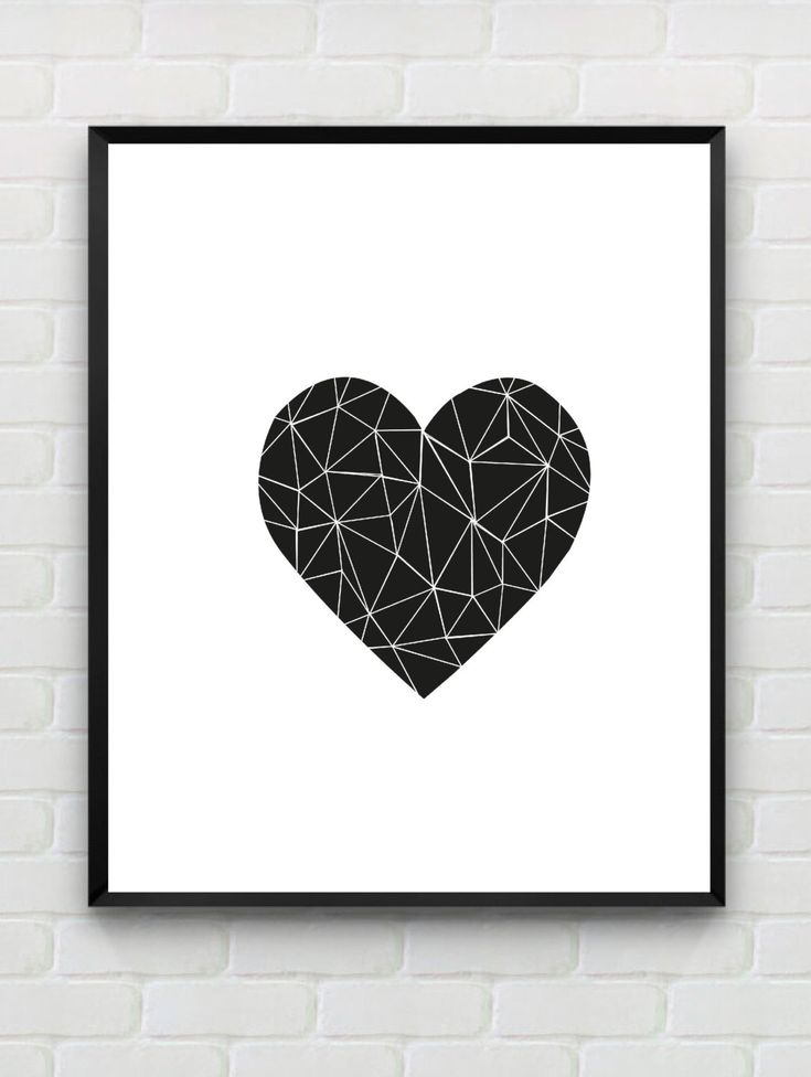 Printable art heart print love print polygon wall art for Black and white mural prints