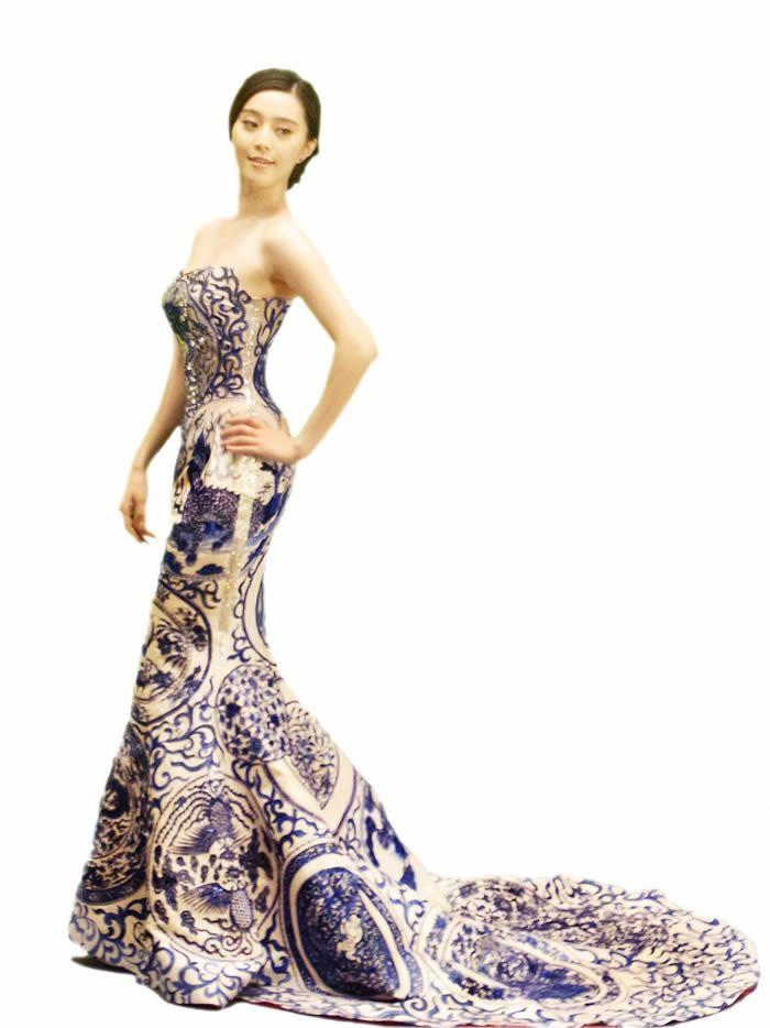 Li Bingbing's design - Blue and White Porcelain Dresses