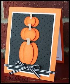 handmade autumnhalloween card orange and black stacked punch - Handmade Halloween Cards Pinterest