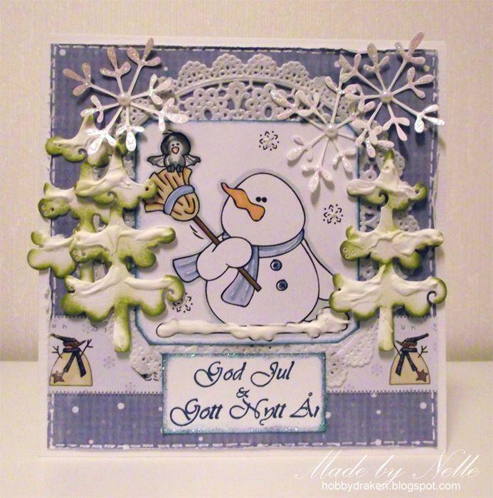 Hobbydraken blogg: DT-kort med snögubbe