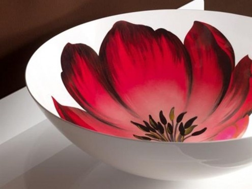 What a cool sink idea!! Insides of a red tulip ceramic glazed bowl