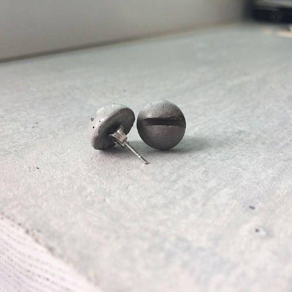 Original screw earrings   CONCRETE stud earrings   Industrial jewelry   Minimalist jewelry   Bijoux   Birthday gift for her   Unisex jewel