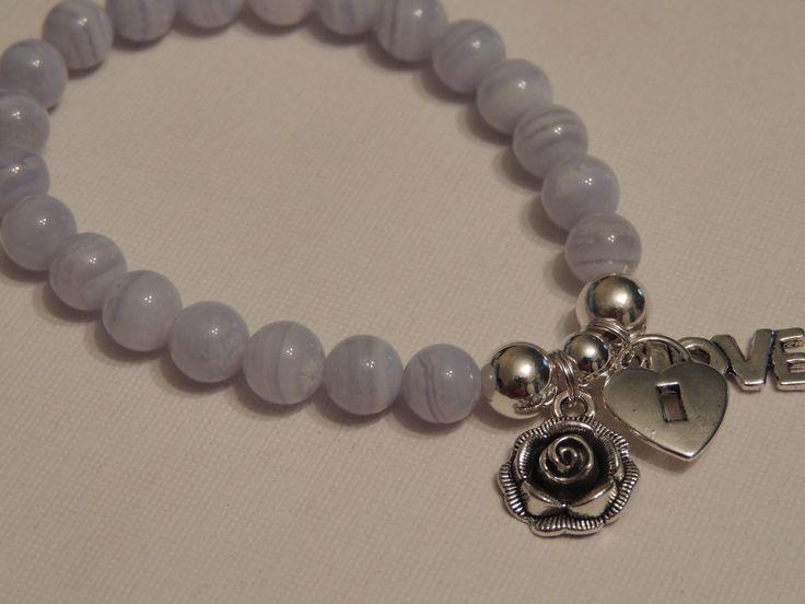 Blue Lace Agate Gemstone bracelet - Rose Charm, love locket charm, Love charm Handmade by me - find me on Ebay and Etsy