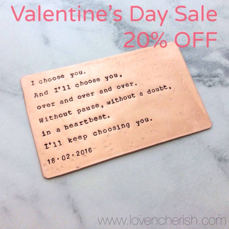 Personalised Copper Wallet Insert. Perfect gift for your love this Valentine's Day!  Shop now at www.lovencherish.com
