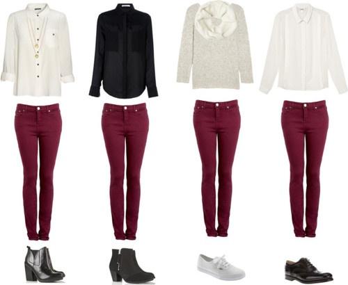 burgandy skinny jeans