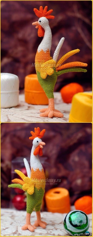 Crochet New Year Rooster Amigurumi Free Pattern -Crochet Easter Chicken Free Patterns