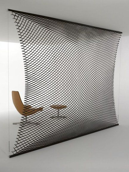Tanned leather room divider T.NET by Matteograssi | #design Franco Poli @Matteograssi matteograssi