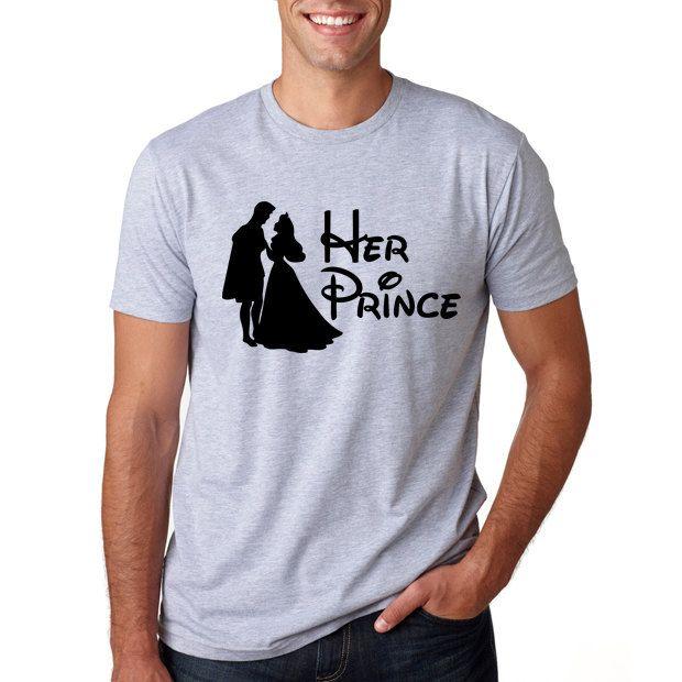 "Disney Sleeping Beauty ""Her Prince"" // Men's Disney Shirt // Aurora Disney Shirts // Disney's Shirt Disney Couples Shirt Disney Prince (21.95 USD) by HimAndGem"