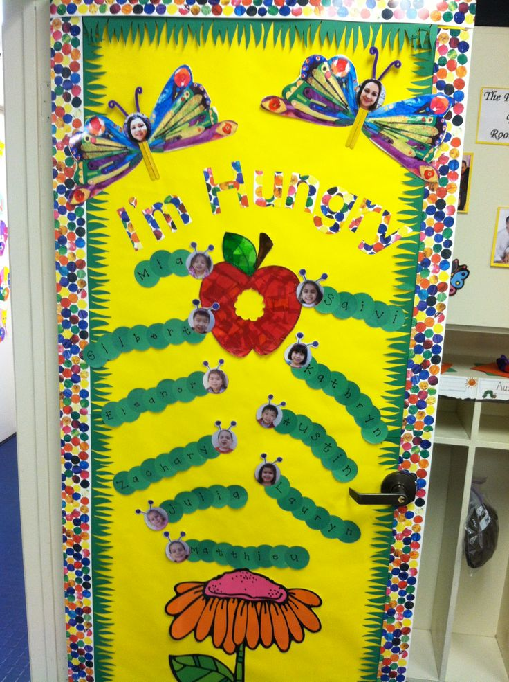 Classroom door decoration- The Very Hungry Caterpillar!...I'm so doing this!!! By far the cutest, TVHC door decoration I've seen!!!