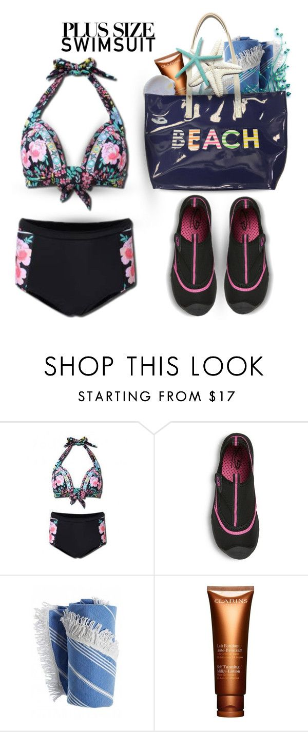 """""""Stylish Curves: Swimsuit Edition"""" by rosie305 ❤ liked on Polyvore featuring Lucille, Clarins, stylishcurves and plussizeswimsuit"""