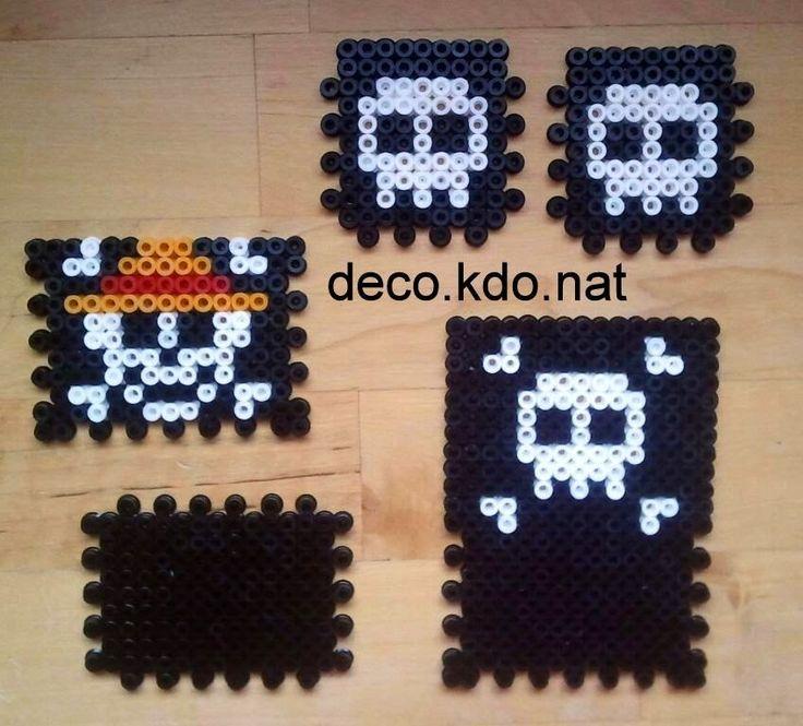 One Piece coaster set hama perler beads by Deco.Kdo.Nat
