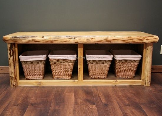 Rustic bedroom benches with basket storage