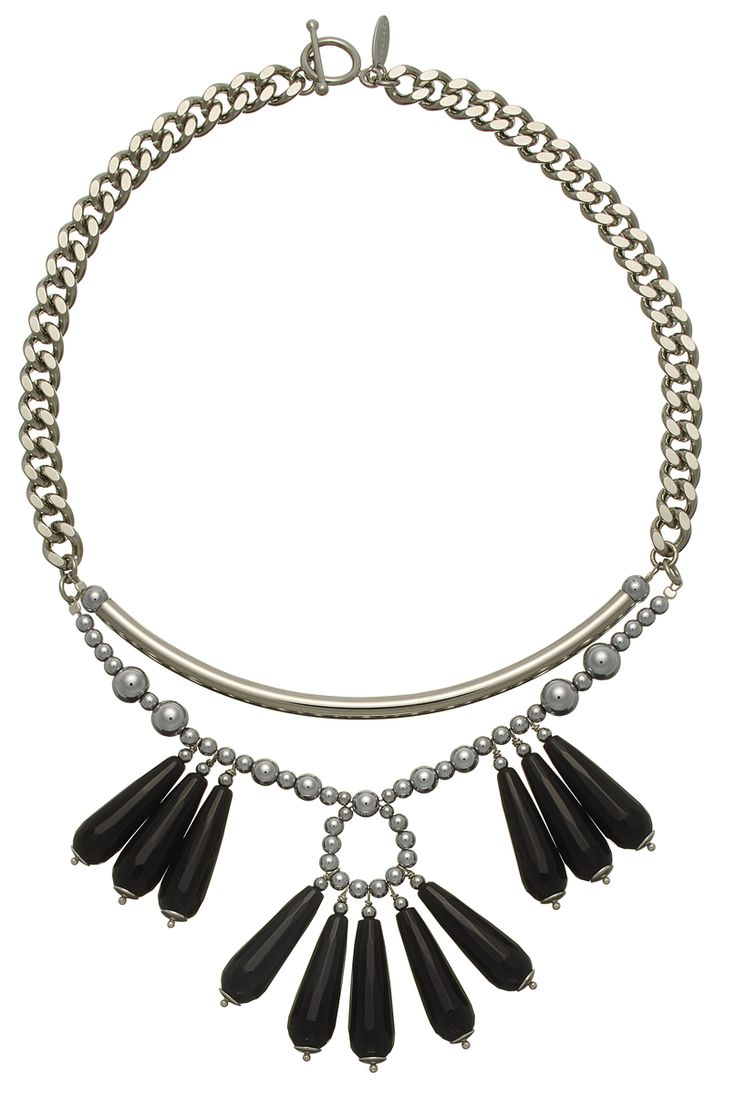 MAGNOLIA STATEMENT NECKLACE WITH BLACK AGATE DROPS AND SILVER HEMATITE
