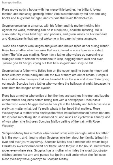I don't agree at all about the Hermione/Draco shippers but this little fanfic about their kids is kinda cute.