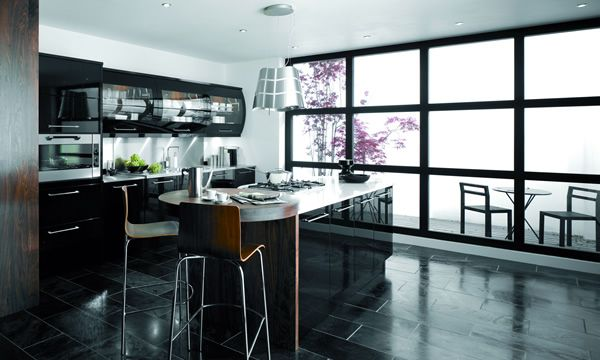 British Modern Kitchen black gloss finish with curved wall units.