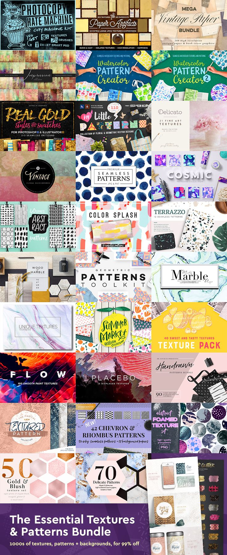 The Essential Textures & Patterns Bundle contains SO MANY beautiful textures and patterns for ALL of your design needs. I am sooo getting this before it's gone!
