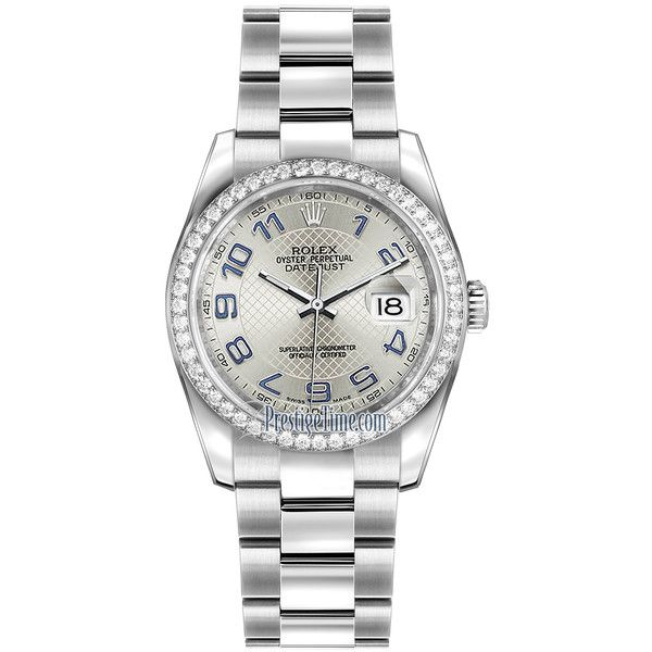 Rolex Datejust 36mm Stainless Steel 116244 Silver Decorated Arabic... (£9,030) ❤ liked on Polyvore featuring jewelry, watches, bracelets, stainless steel, stainless steel jewellery, stainless steel wrist watch, silver wrist watch, polish jewelry and rolex watches
