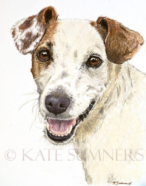 Jack Russell Terrier Art Print de peinture d'Art chien Terrier de 8 x 10                                                                                                                                                     Plus                                                                                                                                                                                 Plus