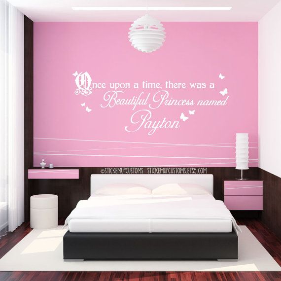 Custom Girls Name Wall Decal Princess Butterfly Storybook Theme Once Upon a time there was a beautiful princess named sticker decor art cute